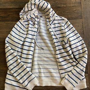 Roxy | White/Blue Striped Zip Hoodie M
